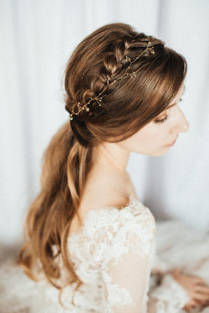 Złoty wianek do włosów, biżuteria na ślub