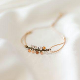 bransoletka na sznurku, bransoletka z kamieni naturanych, kamień słoneczny, biżuteria dla druhen, biżuteria dla świadkowej, prezent dla mamy