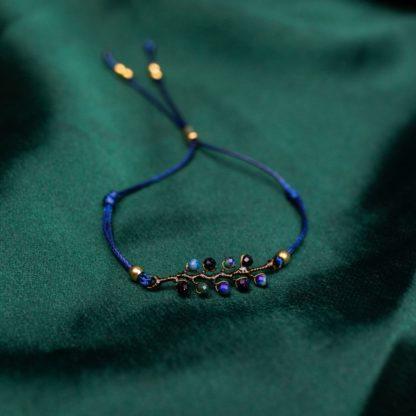bransoletka na sznurku, bransoletka z kamieni naturanych, noc kairu, biżuteria dla druhen, biżuteria dla świadkowej, prezent dla mamy, bransoletka gałązka, bransoletka minimalistyczna